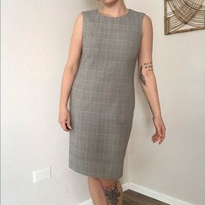 Vintage Brooks Brothers gray glen plaid wool dress